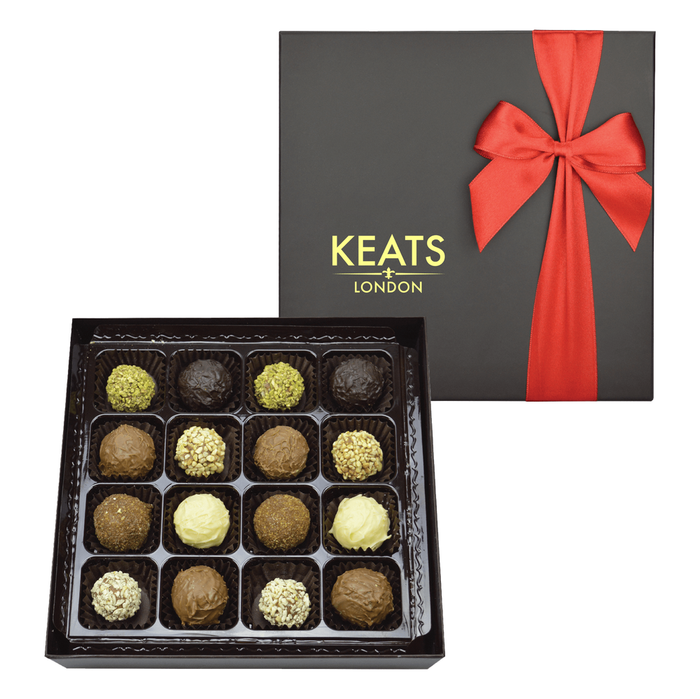 Luxury Truffle Selection, Red Bow Box 16 pieces 200g - Keats Chocolatier London