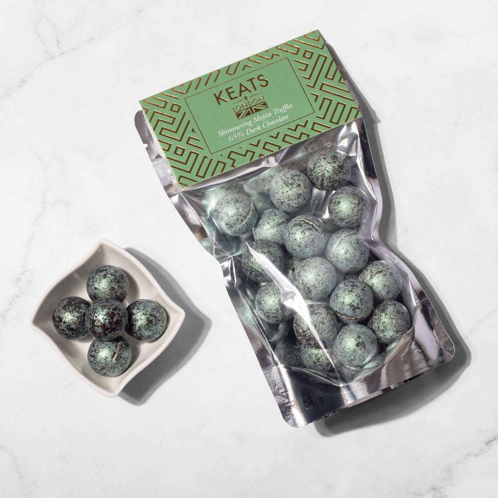 Dark Chocolate Shimmering Truffles Mojito Flavoured 140g - Keats Chocolatier London