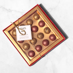 Keats Shimmering Milk and Dark Chocolate Hazelnut Ganache Truffles - Keats Chocolatier London