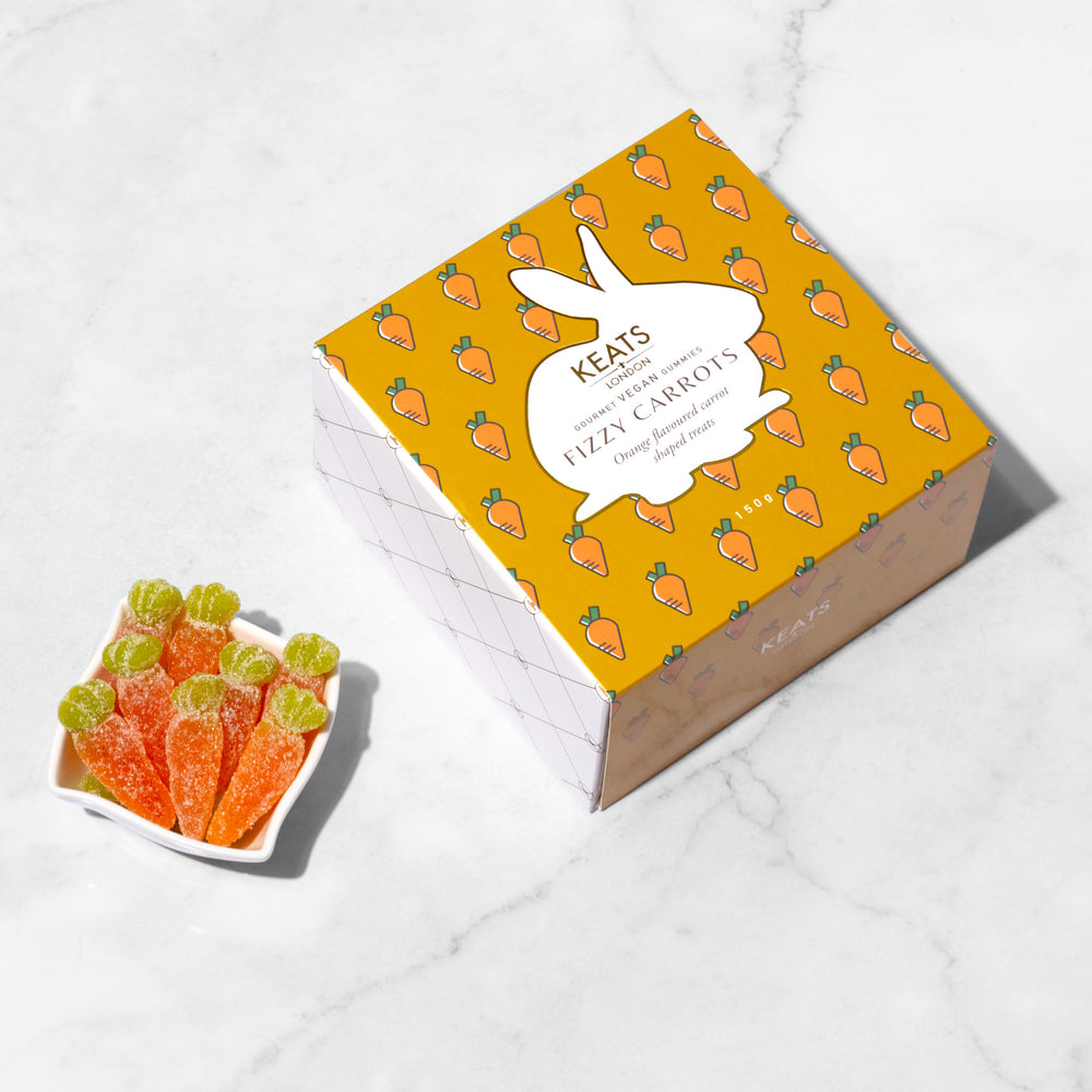 Load image into Gallery viewer, Keats Vegan Gummies - Fizzy Carrots - Keats Chocolatier London