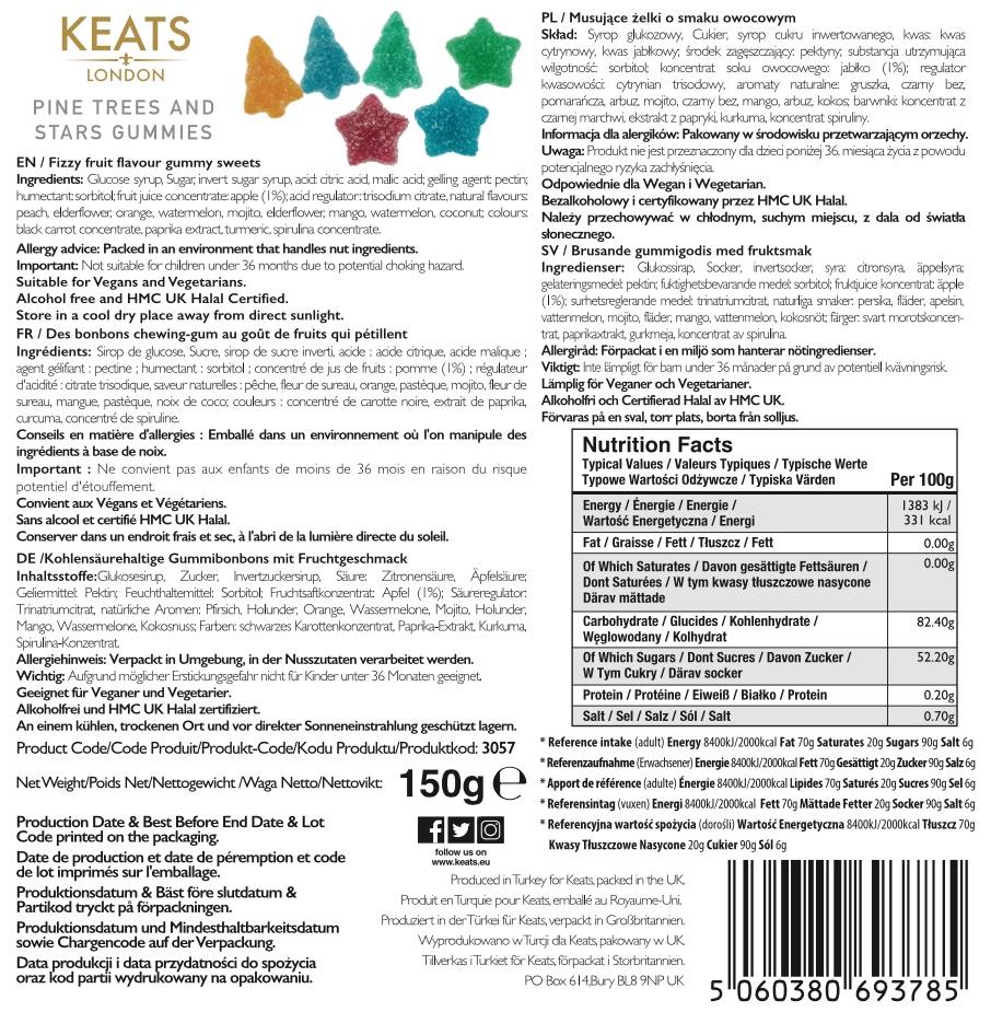 Keats Gourmet Vegan Gift Box Gummies Festive Mix - Keats Chocolatier London