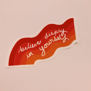 Large rainbow believe deeply sticker