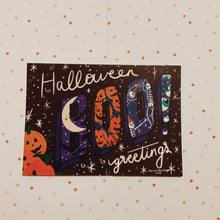 Load image into Gallery viewer, Boo! halloween Greetings postcard