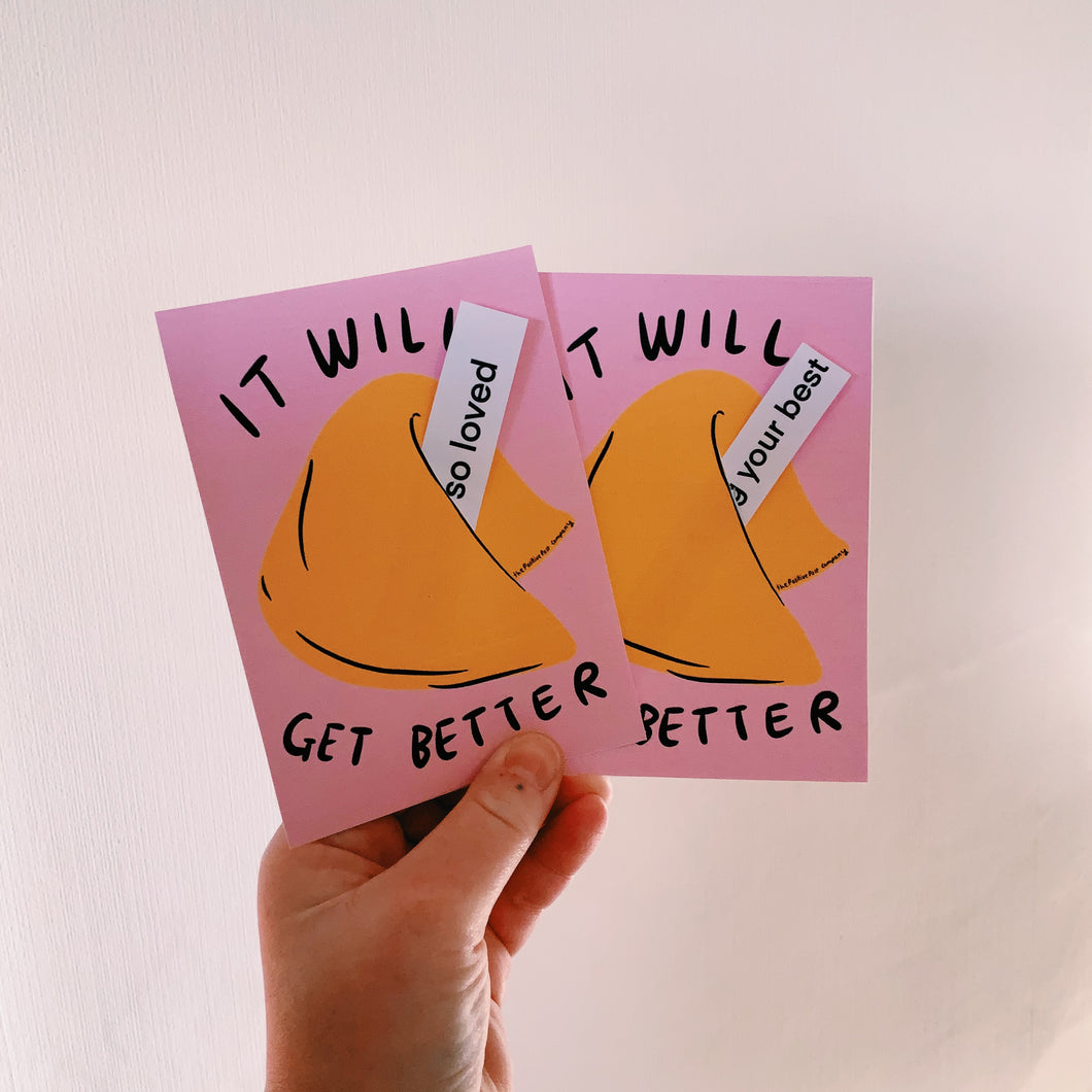 It will get better fortune cookie postcards