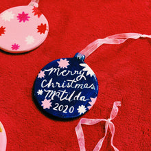 Load image into Gallery viewer, One of a kind Personalised Initial Christmas bauble with PINK stars.