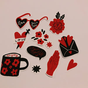 hearts and daggers sticker pack