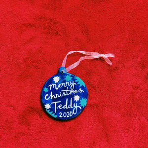 One of a kind Personalised Initial Christmas bauble with blue stars