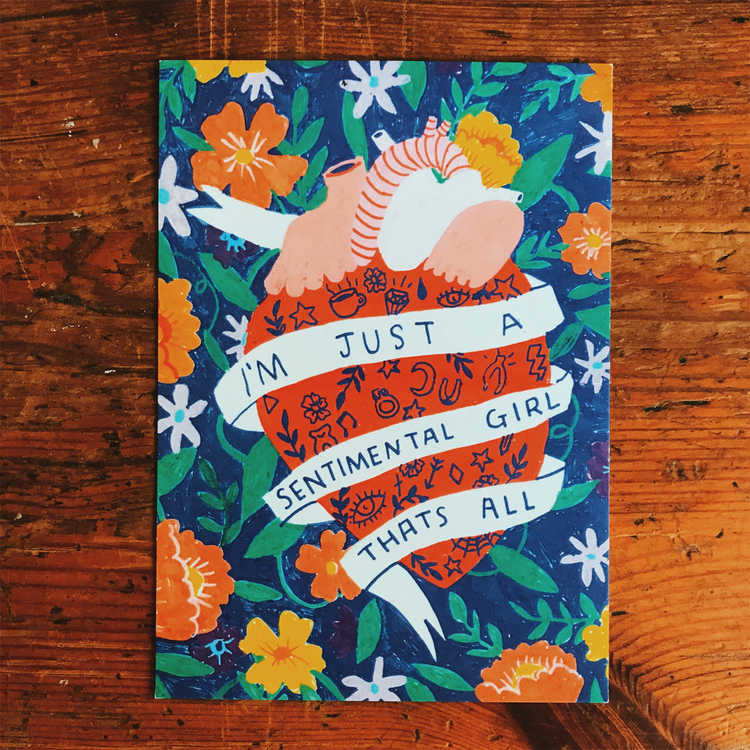 I'm just a sentimental girl postcard