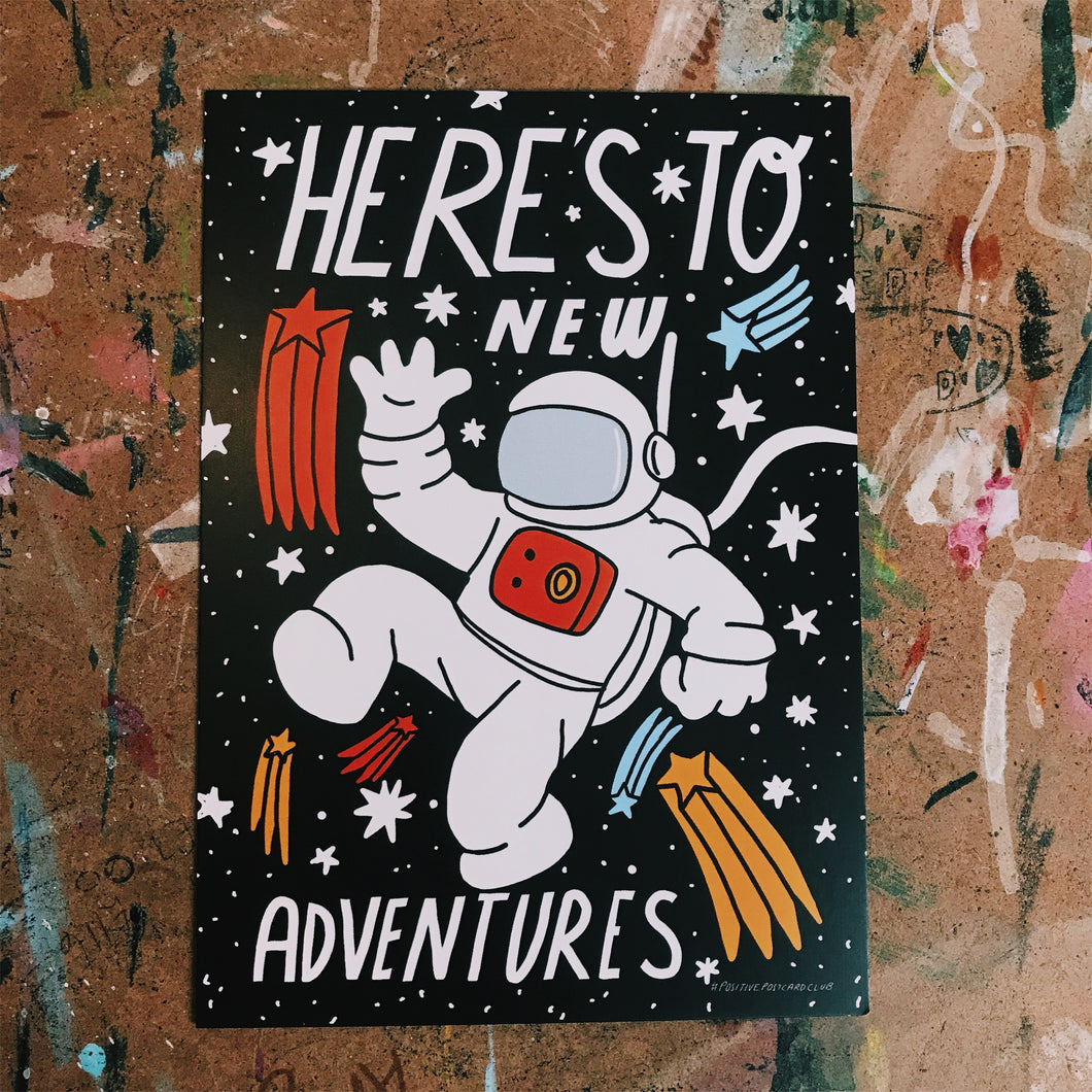 child friendly - Heres to adventure postcard