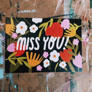 Child friendly - floral miss you postcard