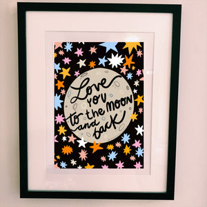 Pre order - love you to the moon and back A4 Print