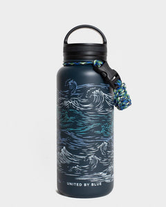 Waves 32Oz Insulated Steel Water Bottle