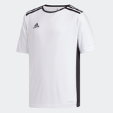 adidas ENTRADA 18 Soccer Jersey | White-Black | Youth