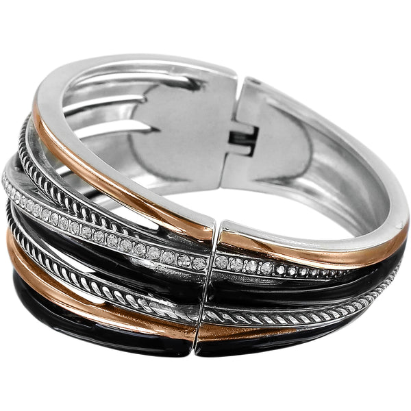 Neptune's Rings Black Hinged Bangle Bracelet
