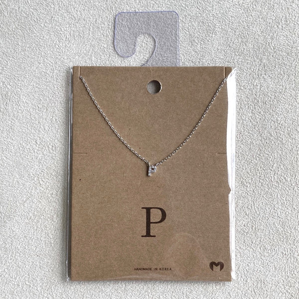 """P"" CZ Small Initial Necklace"
