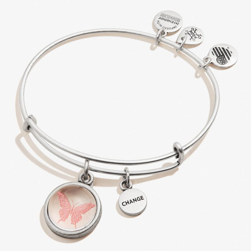 Butterfly and Change Mantra Duo Charm Bangle