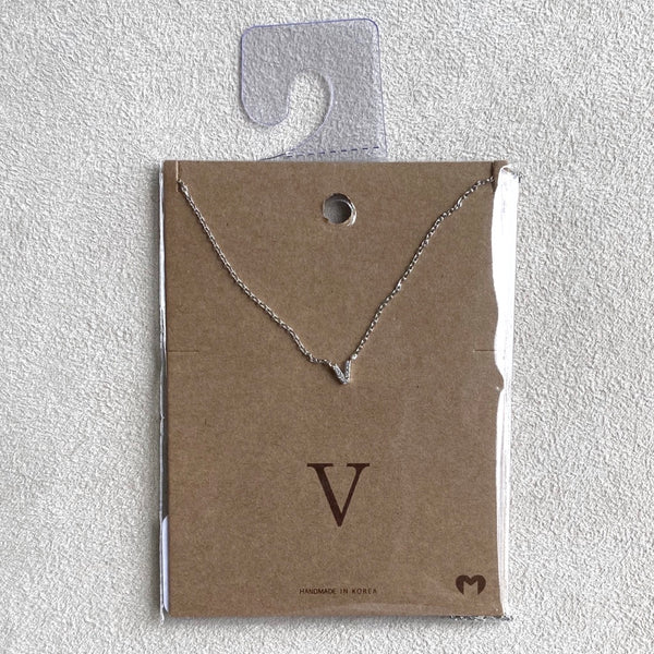 """V"" CZ Small Initial Necklace"