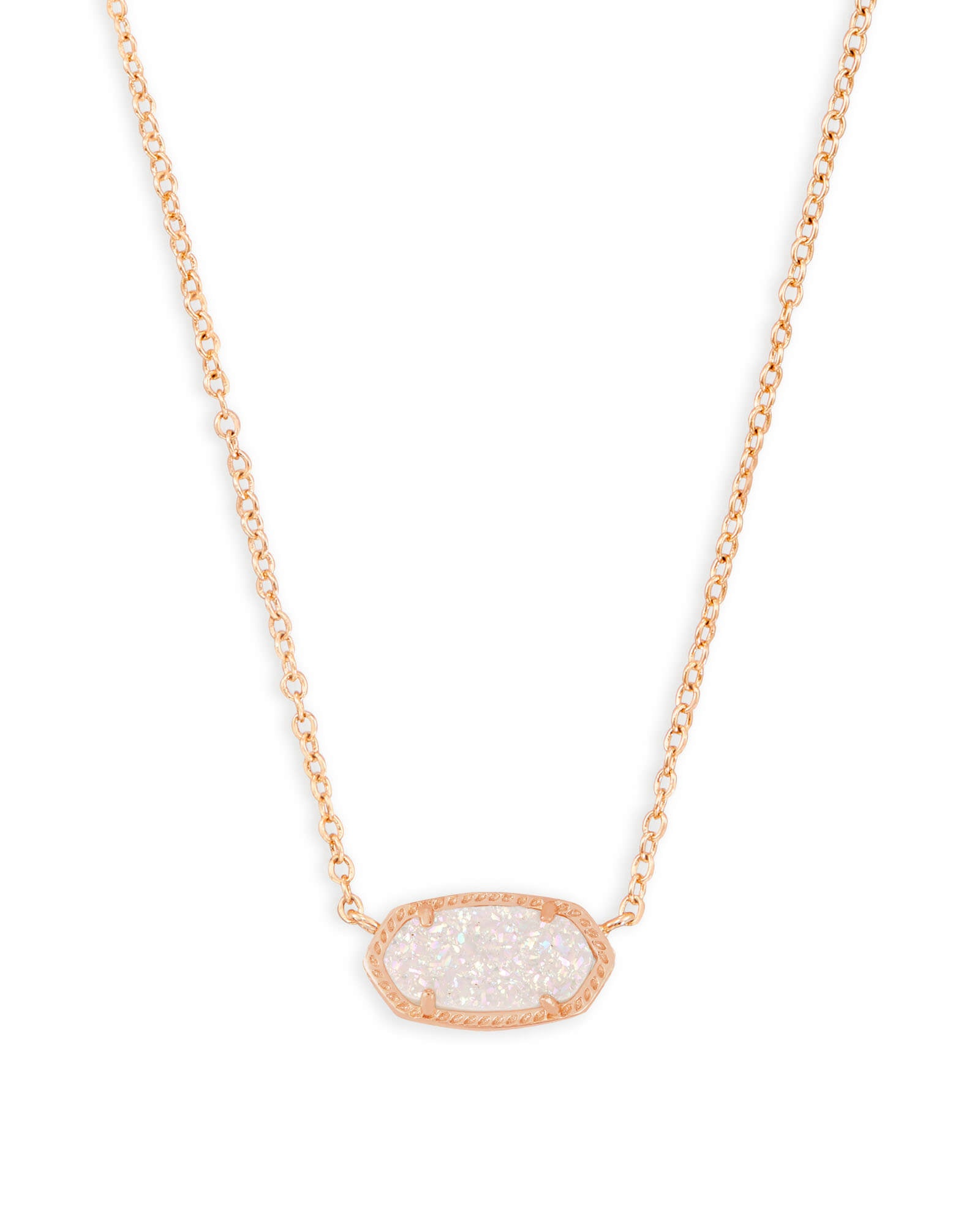 Elisa Rose Gold Pendant Necklace (Drusy)