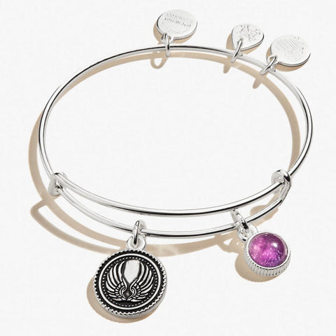 Guardian Angel and Amethyst Gemstone Duo Charm Bangle