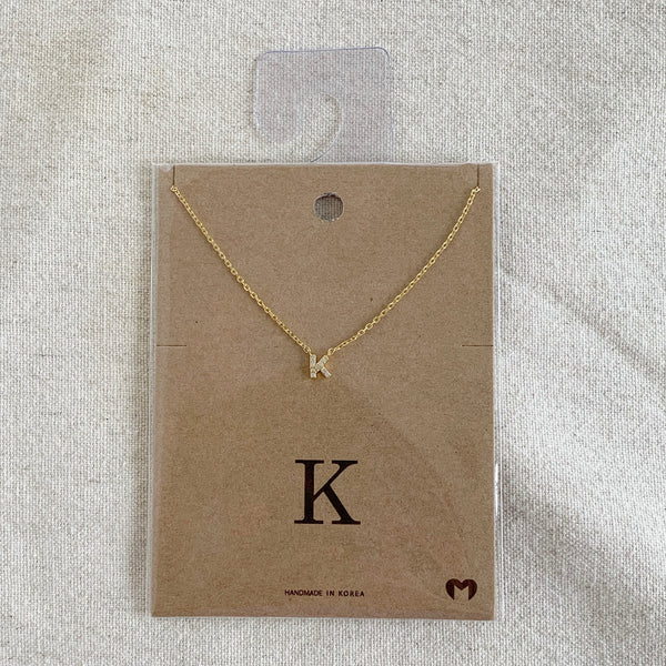 """K"" CZ Small Initial Necklace"