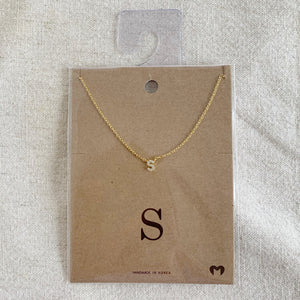 """S"" CZ Small Initial Necklace"