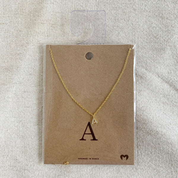"""A"" CZ Small Initial Necklace"