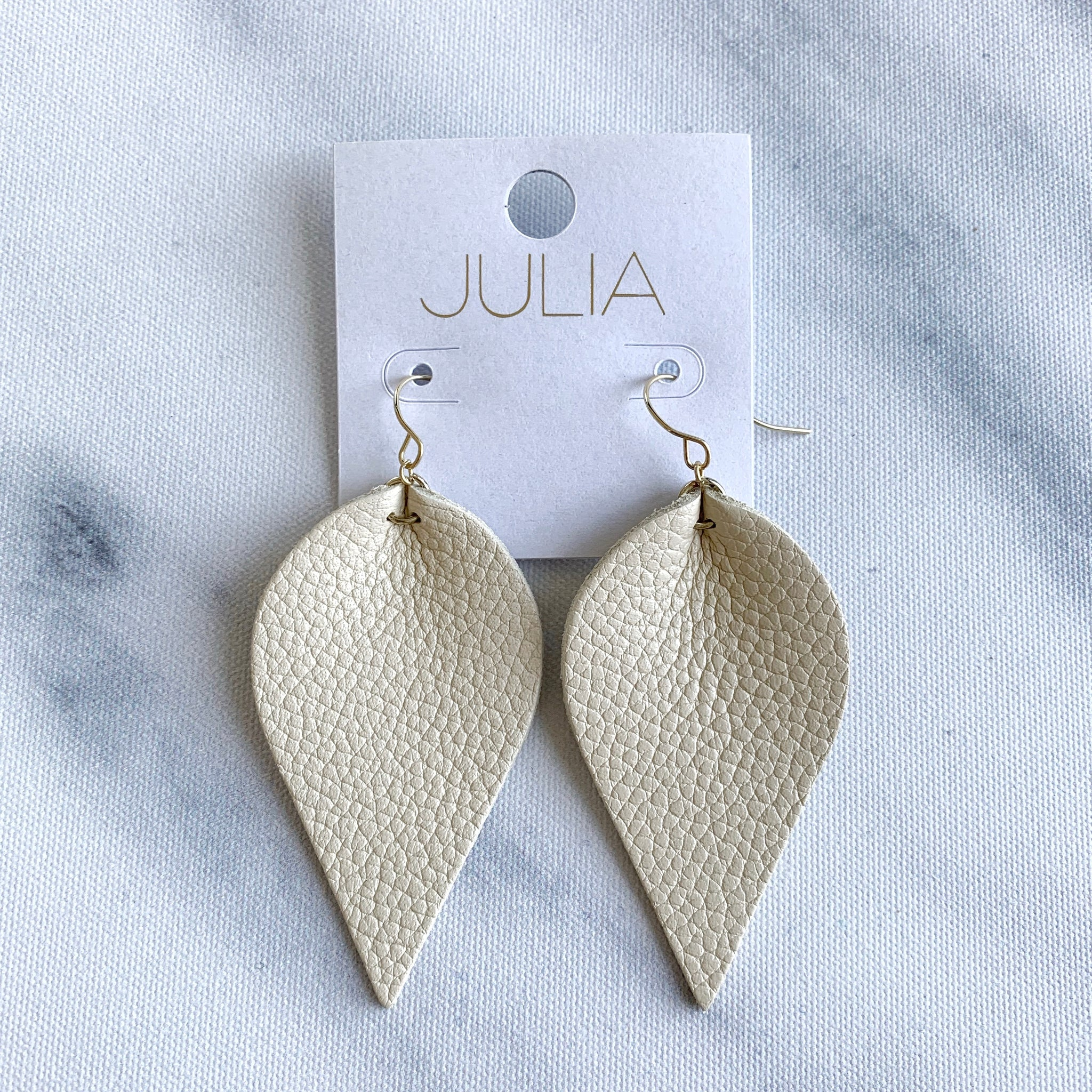 Jolie Leather Leaf Earrings