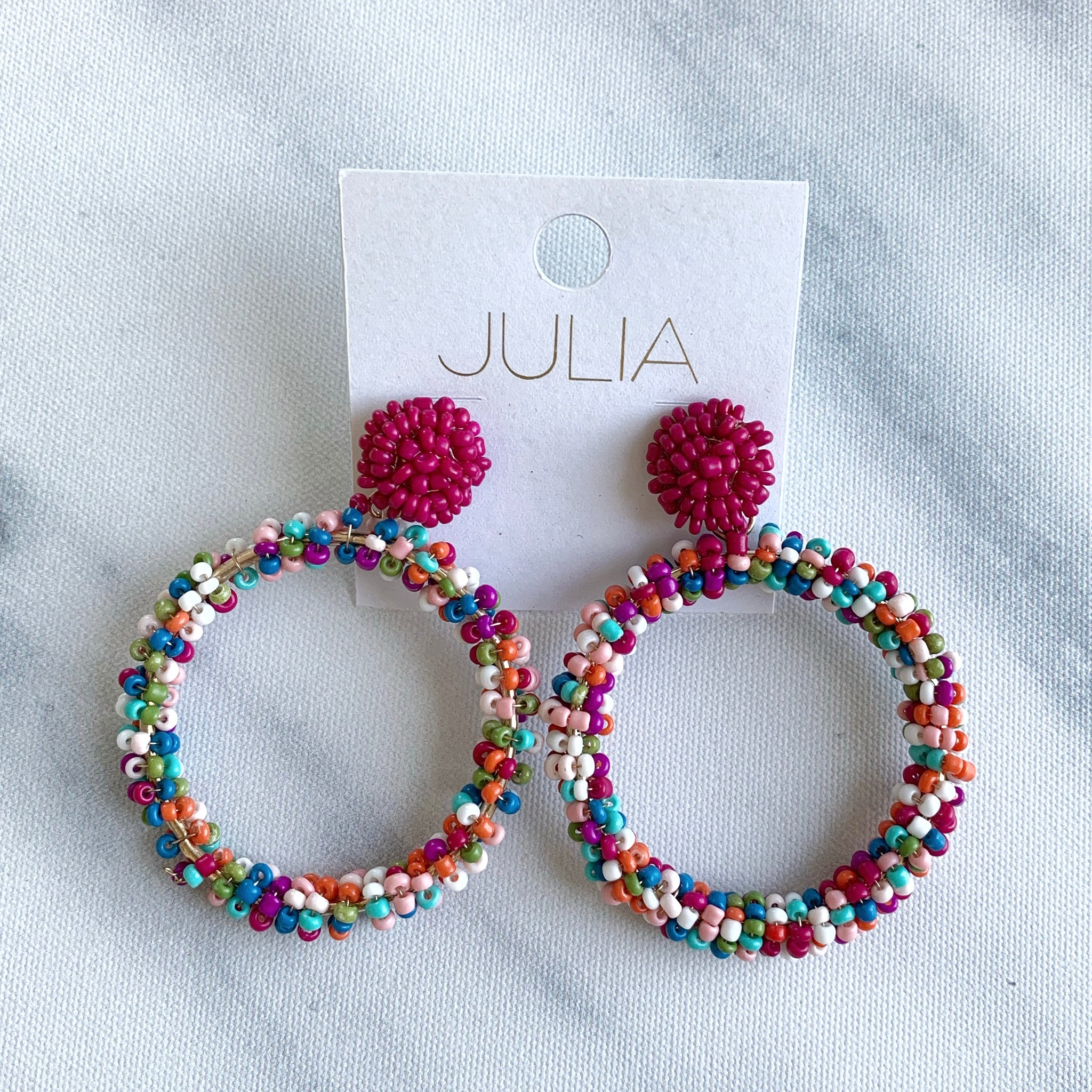 Candy Beaded Accent Hoops