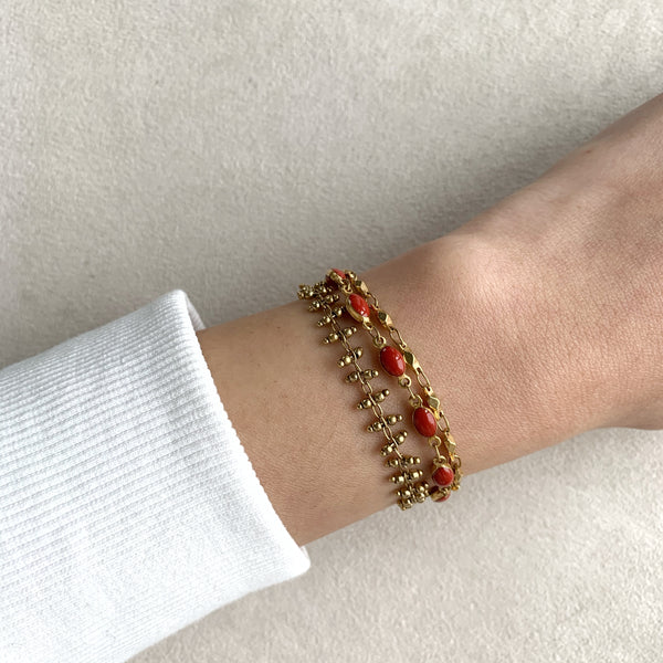 Triple Chain Enamel Accent Bracelet