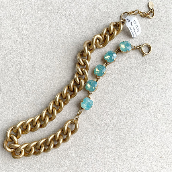 Twist Wrap Chain and Crystal Bracelet in Pacific Opal