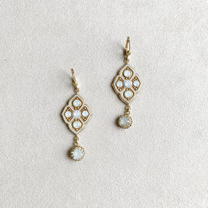 Baroque Crystal Accent Earrings in White Opal