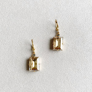 Rectangle Crystal Earrings in Champagne