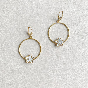 Flower Accent Hoop Earrings in White Opal