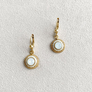 Round Crystal Accent Earrings in White Opal