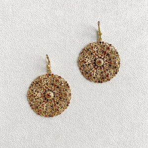 Filigree Medallion Earrings in Topaz