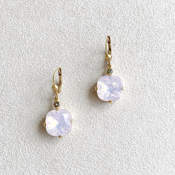 Large Stone Crystal Dangle Earrings in Rosewater