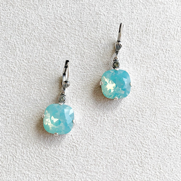 Large Stone Crystal Dangle Earrings in Pacific Opal