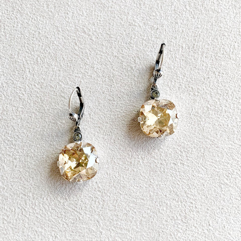 Large Stone Crystal Dangle Earrings in Champagne