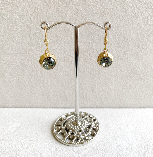 Two-Sided Crystal Ball Earrings in Black Diamond