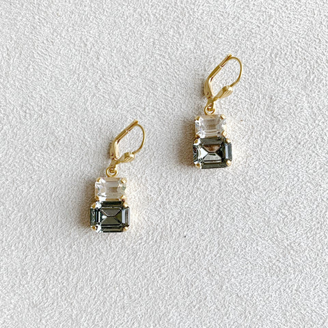 Double Rectangular Crystal Earrings in Clear/Black Diamond