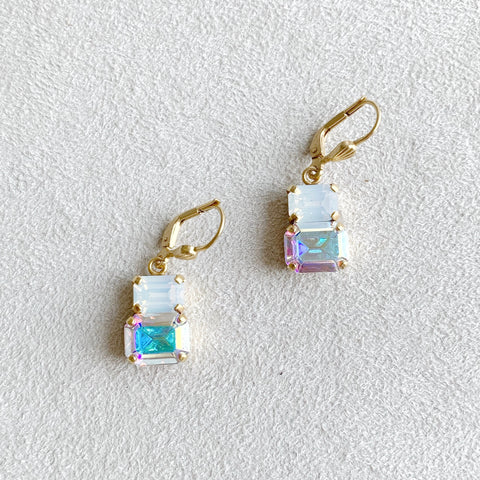 Double Rectangular Crystal Earrings in AB/White Water