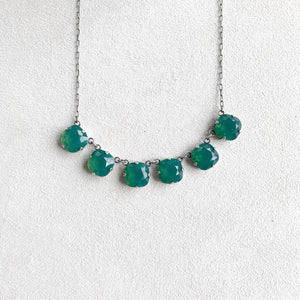 Large Six Stone Crystal Necklace in Vert