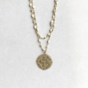 Long Filigree Necklace with Enamel Accent Chain