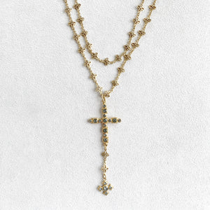 Crystal Cross Necklace with Celtic Drop