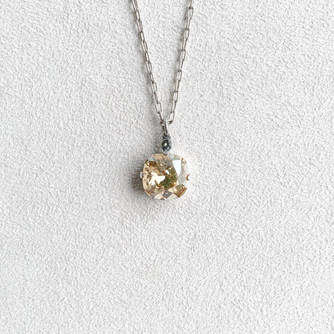 Large Stone Crystal Necklace in Champagne