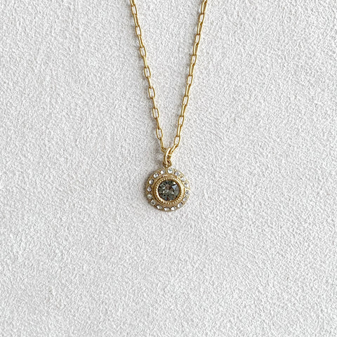 Small Round Crystal Medallion Necklace in Black Diamond