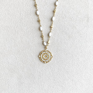 Crystal Medallion Pendant Necklace in White Opal