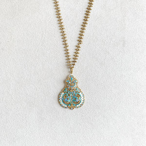 Filigree French Enamel Crystal Necklace in Teal