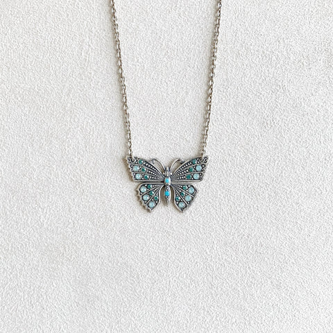 Crystal Butterfly Necklace in Pacific Opal