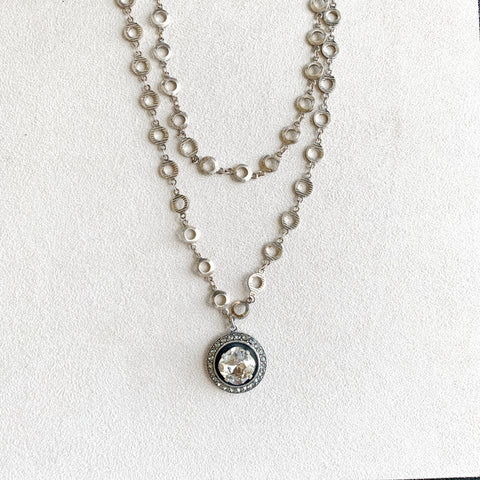 Round Crystal Frame Pendant Necklace in Shade
